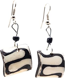Beautiful African Fair Trade Zig Zag Square Up cycled Camel Batiked Bone Earrings