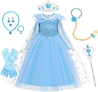 Moonmen Kids Princess Dress for Girls with Cloak Wig Crown Mace Necklace Gloves Accessories, Snow Queen Girl Costumes Dres...