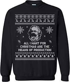 realpeoplegoods Marx Ugly Christmas Sweater - Marxist Ugly Christmas Sweatshirt - Carl Marx - Means of Production