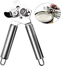Manual Can Opener, Food-Safe Stainless Steel Manual Tin Opener Fit for Veriety Cans,Built in Bottle Opener with Easy Turn ...