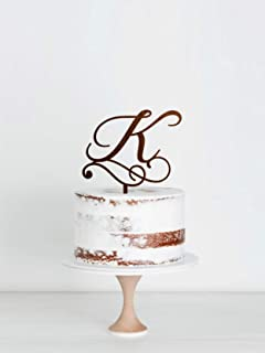 K Letter Wood Cake Topper Personalized Initial Of Last Name Wedding Wood Cake Topper Monogram Wood Cake Topper Wedding Wedding Wood Cake Topper Single Letter