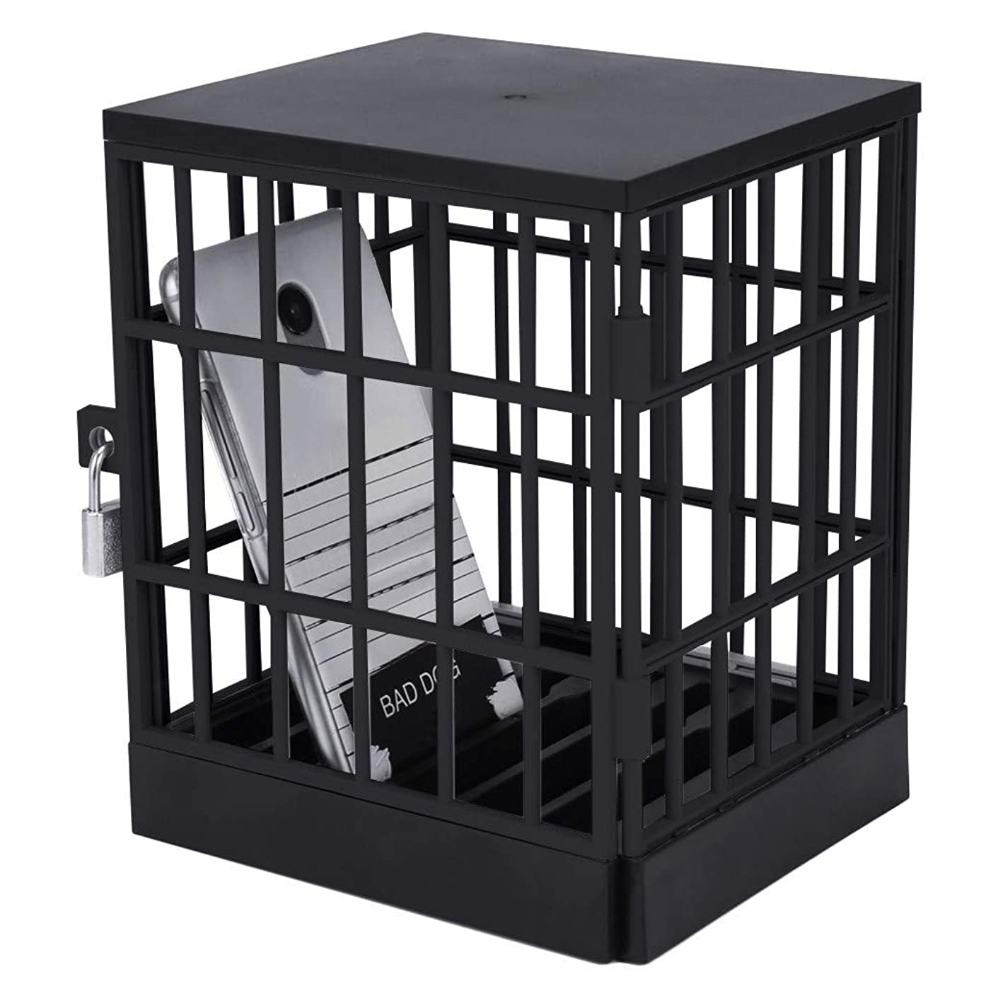 Denzar Creative Mobile Phone Jail Cell Prison, Safe Smartphone Lock-Up Box Home Table Office Gadget for Better Interaction Communication (Include Key and Lock) (Black)