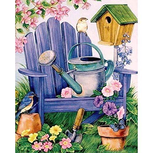 Minyose Banco Jardín Paisaje DIY Cristal Taladro Completo 5D Diamante Pintura Flor Paisaje Kit De Punto De Cruz Mosaico Rhinestone Redondo 30 * 40 Cm