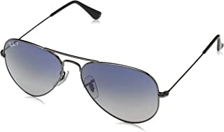 RB3025 Aviator Polarized Sunglasses, Gunmetal/Polarized Blue Gradient, 55 mm