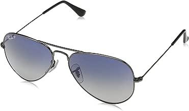 RAY-BAN RB3025 Aviator Large Metal Polarized Sunglasses, Gunmetal/Polarized Blue Gradient, 55 mm