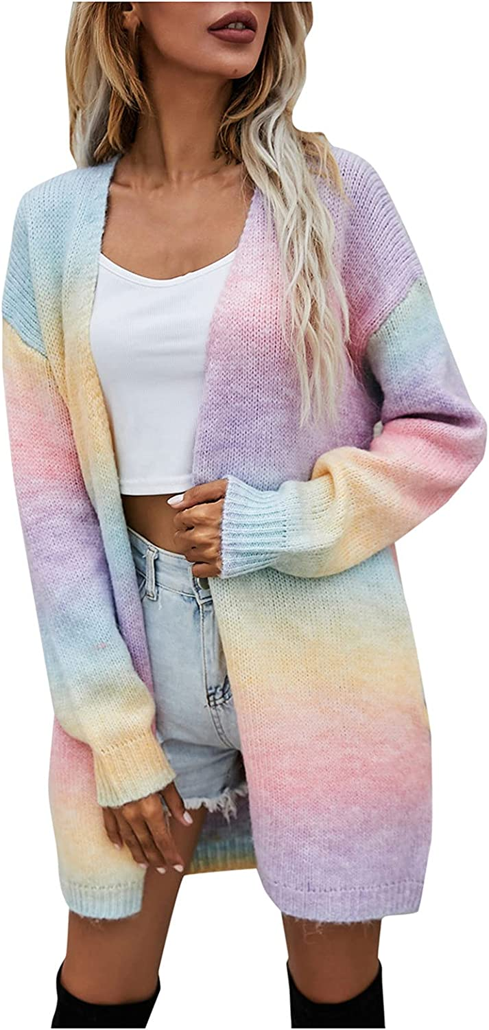 BEUU Women's Long Sleeve Gradient Rainbow Open Front Draped Loose Knitted Fuzzy Lightweight Cardigan Sweaters Coat