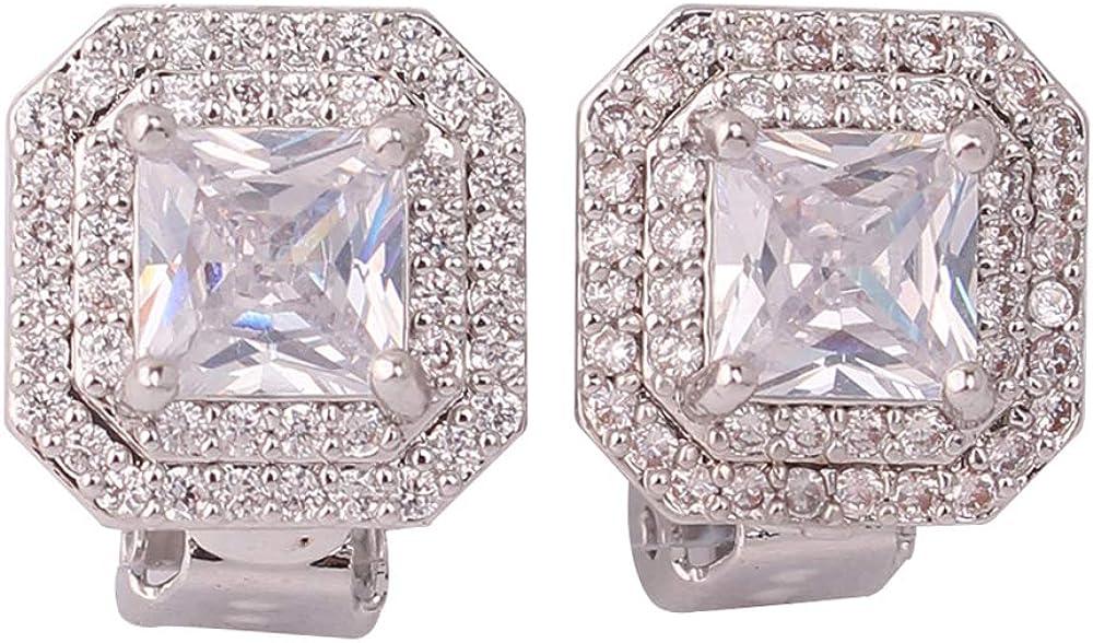 HAPPYAN Bridal Wedding Cubic Zircon Geometric Clip on Earrings Non Pierced for Women Fashion Luxury costume Jewelry Ear Clip