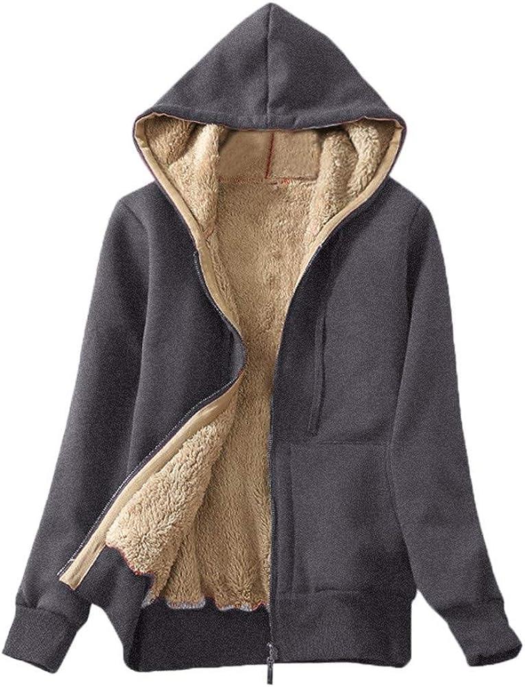 Women's Casual Winter Warm Sherpa Lined Fleece Zip Up Hooded Jacket Coat