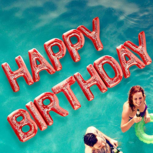 """Happy Birthday Pool Float Inflatable Letter Set by Spell Party – Large 20"""" Letter Balloons Floatie Decorations Backdrop Banner for Adult Kids Pool Party"""