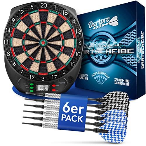 DartPro [DAS ORIGINAL - Elektronische Dartscheibe - Dartboard mit 6 Darts [kabellos nutzbar] - Innovativer Dartautomat mit 65 Varianten - Dart für 1 bis 8 Spieler