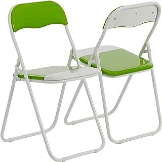 Harbour Housewares Silla de Escritorio Plegable - con Acolchado Verde/Blanco - Pack de 4