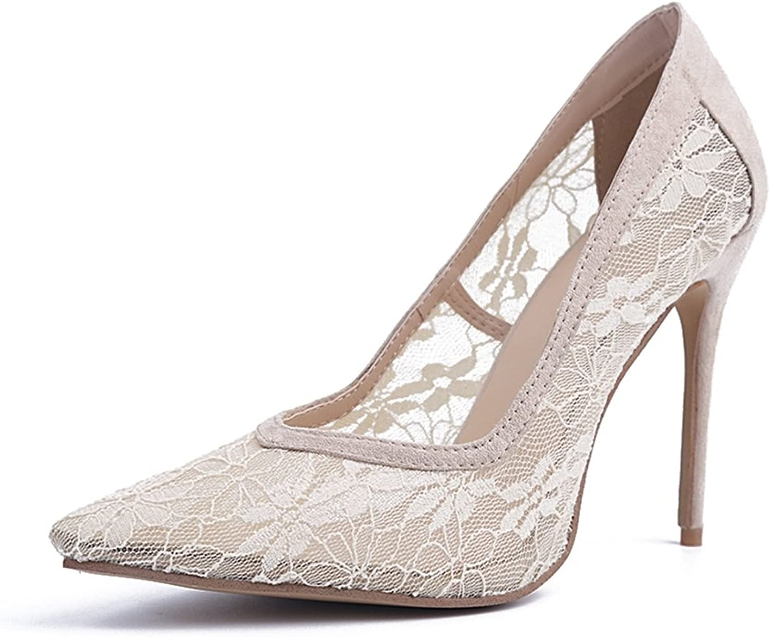 TDA Women's MA04142 Elegant Beige Lace Floral Pointed Toe Dress Pumps
