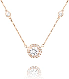 Round Halo CZ Paved Solitaire Pendant Women Girls Fashion Necklace for Women Girls, 16