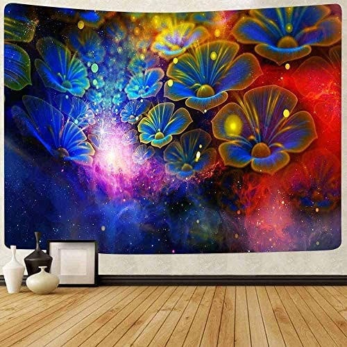 Yhjdcc Natuurlijke Bloem Tapestry Fantasy Bloem Tapestry Galaxy Bloemen Tapestry Wandtapijten voor Slaapkamer Woonkamer Appartement Slaapzaal 150 cm x 200 cm