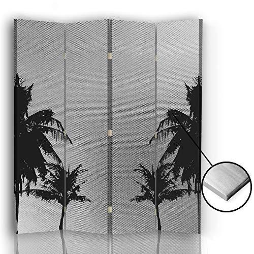 F FEEBY WALL DECOR Trennwand Paravent Palmen 360 Grad drehbarer 4 TLG beidseitig Silber 145x175 cm