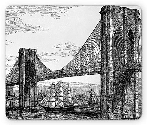 New york mouse pad, Bleistift gezeichnete kunstillustration der brooklyn bridge und des east river im stil der 1890er jahre, Rechteckiges, Rutschfestes gummimousepad in standardgröße, Schwarzweiß