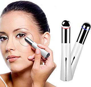 Heated Sonic Vibration Eye Roller Massager, Seed Rechargeable 40℃ Under Eye Zone Facial Massager Wand Pen with High Frequency Vibration Relieving Dark Circles Fatigue and Puffiness Two Modes