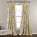 Lush Decor Curtains Dolores Darkening Window Panel Set for Living, Dining Room, Bedroom (Pair), 84' x 52', Yellow