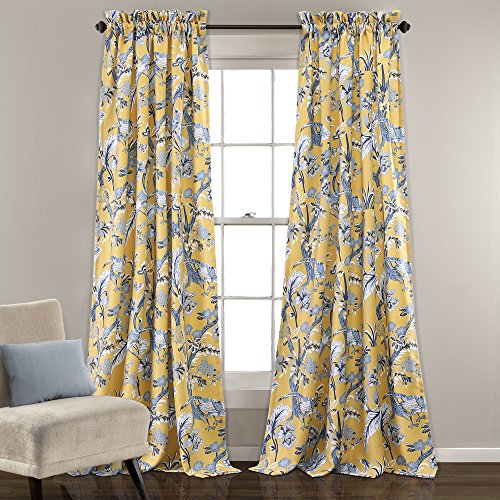 """Lush Decor Curtains Dolores Darkening Window Panel Set for Living, Dining Room, Bedroom (Pair), 84"""" x 52"""", Yellow, 2 Count"""