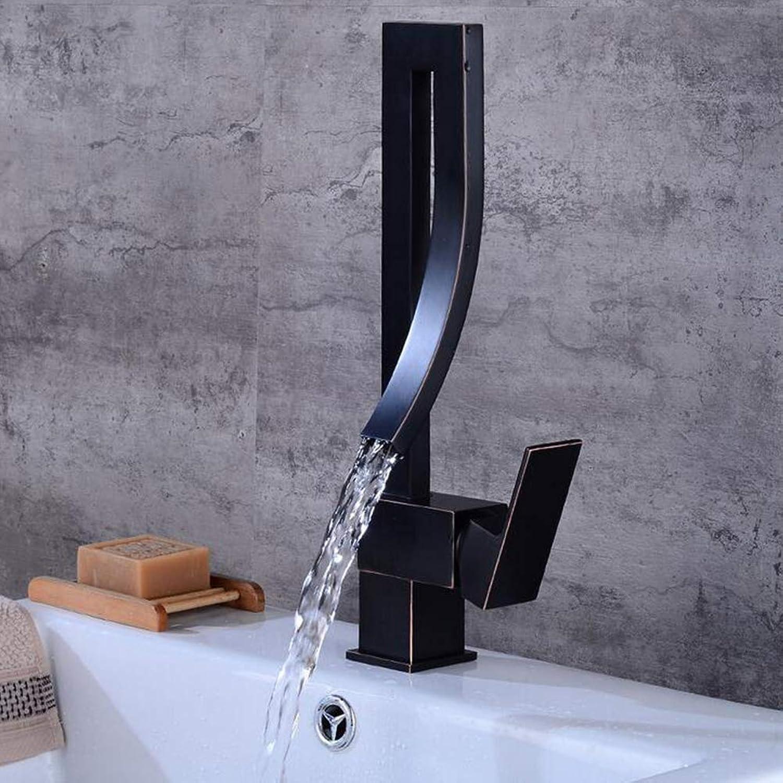 BTSSA European black bronze hot and cold kitchen bathroom faucet redating retro basin faucet