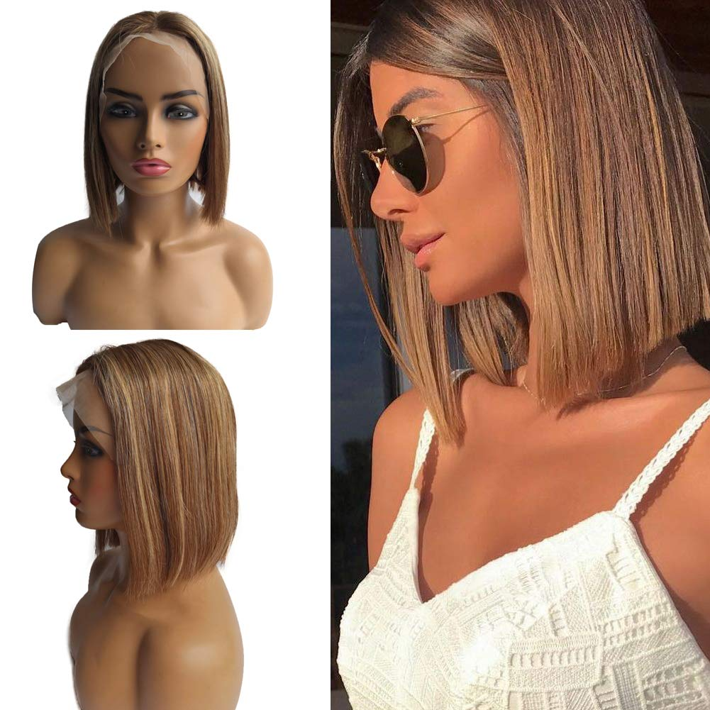 Ombre Lace Front NEW before selling ☆ Lowest price challenge Wigs Blonde Balayage Human Bob P Hair