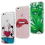 3x Funda iPhone 6s, iPhone 6 Carcasa Silicona Gel Case Ultra Delgado TPU Goma Flexible [Proceso IMD] No se descolora Anti-scrach Cover para iPhone 6/6s - Hojas + Flamingos + Labios