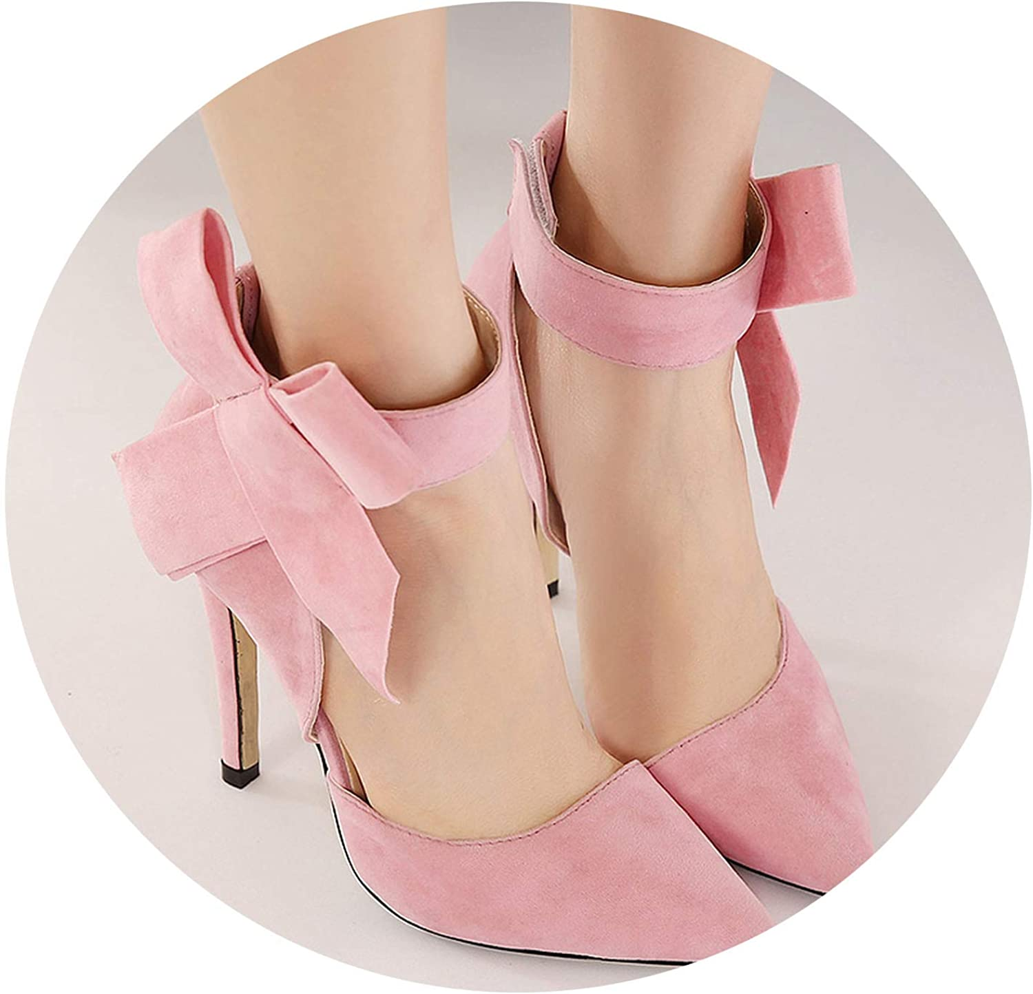 Spring Summer Fashion Sexy Big Bow Pointed Toe high Heels Sandals shoes Woman Ladies Wedding Party Pumps,Pink,5