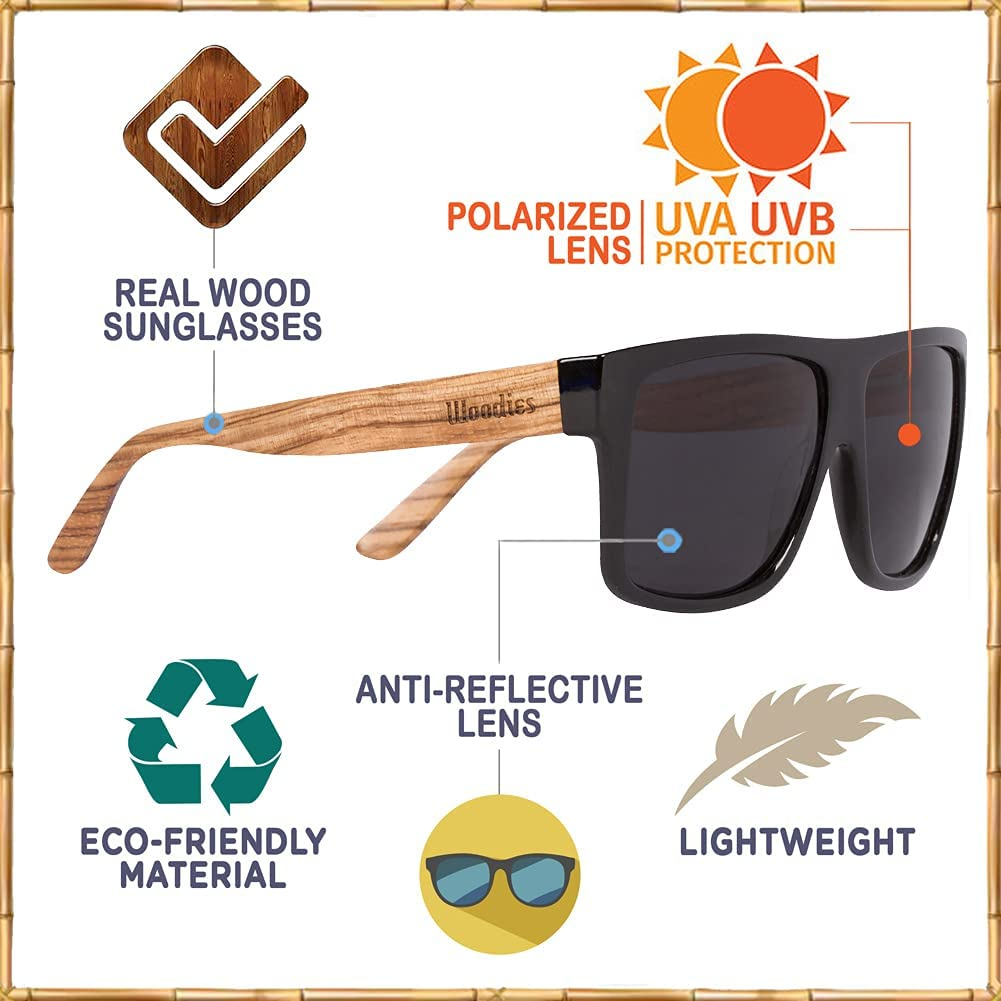 WOODIES Polarized Zebra Wood Sunglasses for Men and Women   Black Polarized Lenses and Real Wooden Frame   100% UVA/UVB Ray Protection