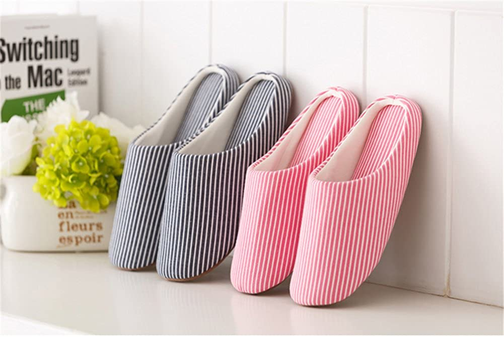 TELLW Spring Summer Autumn Winter Couples Striped Slippers Female Men Home Soft Bottom Suction Sweat Wooden Floor air-Conditioning Slippers