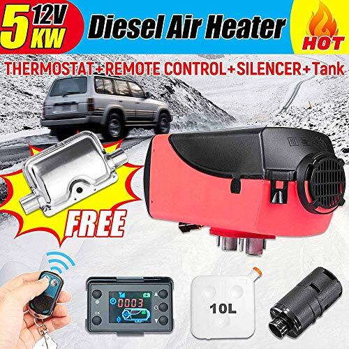 STHfficial 12 V 5 kW diesel luchtverwarming staande verwarming luchtverwarming LCD schakelaar met geluiddemper afstandsbediening voor vrachtwagens boten auto aanhanger verwarming