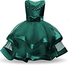 Kids Dresses for Girls Tutu Princess Children Evening Party Dresses Flower Girls Wedding Dress 3 4 5 6 7 8 Year,Green,5