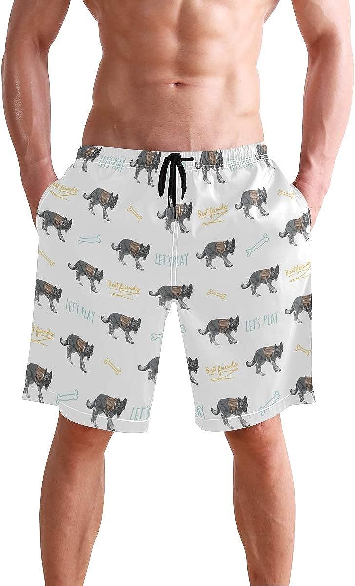 WangH Swim Trunks Support Military Dog, Beach Short Beachwear for Men Boys S