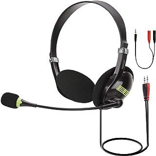 Audífonos estéreo de 3,5 mm, auriculares con micrófono, para laptop, audífonos de teléfono celular con cancelación de ruido para teléfono móvil iPad, computadora, Skype, llamadas de conferencia, con control de volumen de silencio para PC PS4