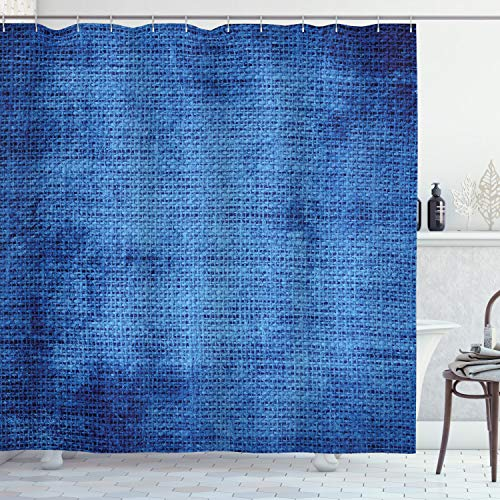 Ambesonne Navy Blue Shower Curtain, Faded Burlap Texture Image in Old Fashioned Grunge Style Abstract Design Print, Cloth Fabric Bathroom Decor Set with Hooks, 84' Long Extra, Blue