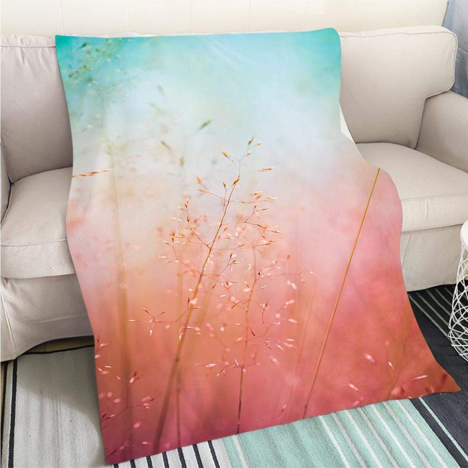 BEICICI Luxury Super Soft Blanket Silhouette of Wildflowers in Meadow During Sunrise or Sunset Sofa Bed or Bed 3D Printing Cool Quilt
