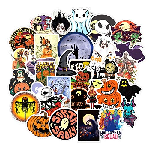 FENGLING Terror Spoof Halloween Graffiti Pegatinas para Muebles Pared Escritorio Silla Juguete Coche Ordenador TV Guitarra Motocicleta 50 unids/Pack