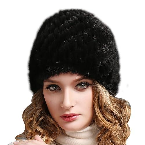 11aa7041356 FURTALK Womens Mink Fur Winter Hat - Luxurious Warm Skiing Hats Cap for  Women Girl Orginal
