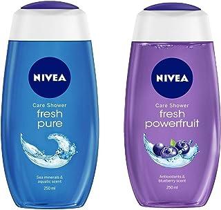 NIVEA Shower Gel, Fresh Pure Body Wash, 250ml And NIVEA Shower Gel, Power Fruit Fresh Body Wash, 250ml