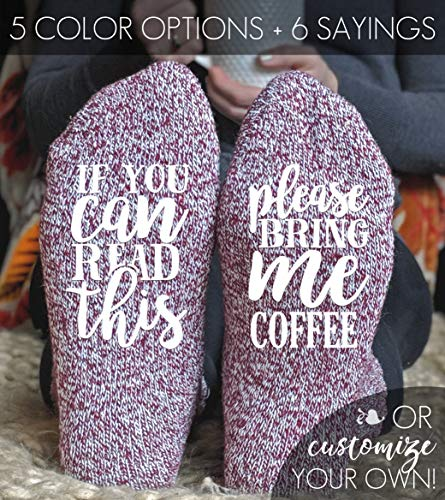 Coffee Gift, Coffee Lover, Valentines Day Gift for Her, Womens Wool Socks, If You Can Read This Please Bring Me Coffee