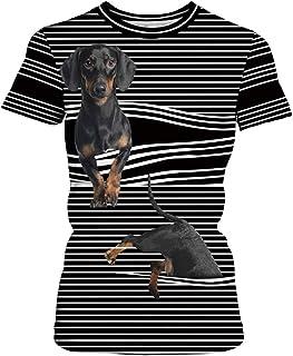 a4024d1c6c740 EUDOLAH Femme T-Shirt à Manches Courtes 3D Animaux Motif Respirant élastique