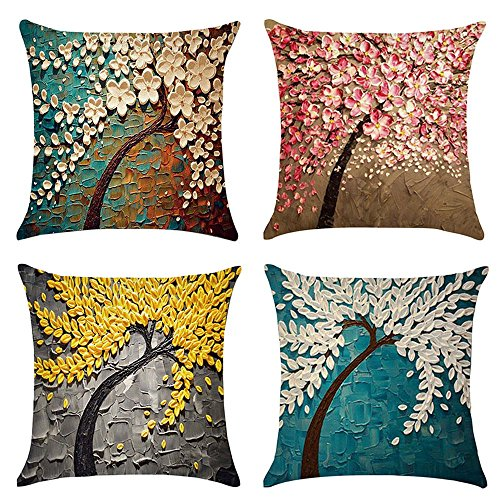 Fineday 4Pcs Art Painting Tree Throw Pillow Case Decorative Cushion Cover Pillowcase, Pillow Case for Christmas (Multicolor)