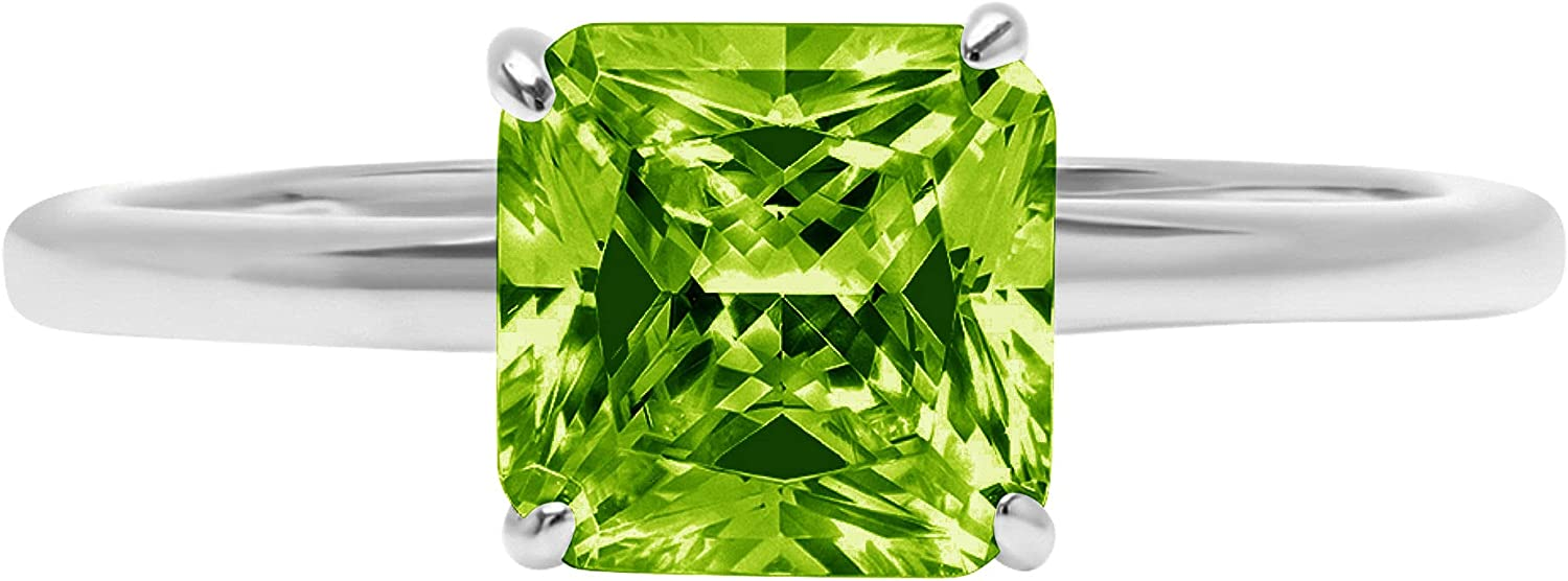 2.4ct Brilliant Asscher Cut Solitaire Genuine Natural Vivid Green Peridot Ideal VVS1 4-Prong Engagement Wedding Bridal Promise Anniversary Ring Solid 14k White Gold for Women