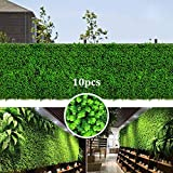 zimo Artificial Hedges Boxwood Panels, 10Pcs Faux Grass Wall Backdrop Decor Shrubs Greenery Panels Decorative Fences Covers 26 Sq Feet For Indoor/Outdoor