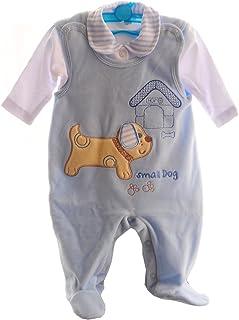 Malgosia - A&O Baby Strampler Set 56 62 68 74 Stramplerhose & Shirt Blau/Hund