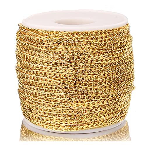 BOSAIYA PJ1 2 Metros de Ancho de Oro 3 mm de Ancho de la Cadena de Enlace de Acero Inoxidable NK 1: 1 Cadena para Bricolaje Collar Hecho a Mano Pulsera Tl0622 (Color : Gold)
