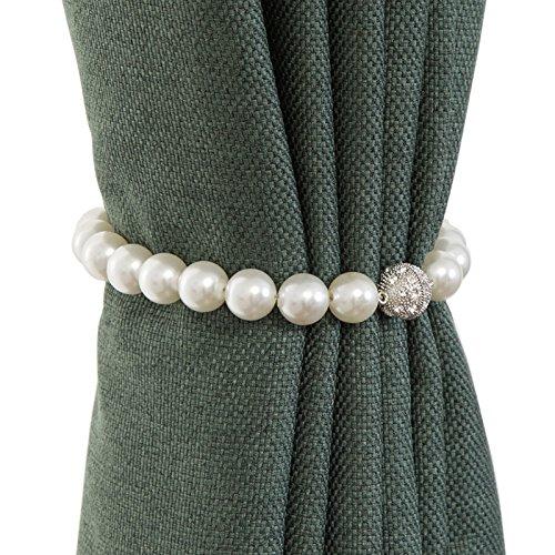 Homerr - Fermacravatta per tende da finestra, alla moda, in ABS, con perla magnetica, per casa, ufficio, con fibbia decorativa (40 cm, colore bianco perla)