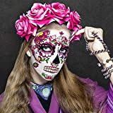 Day of the Dead Face Skeleton Tattoos/Dia De Los Muertos, Halloween Temporary Sugar Skull Costume Makeup Tattoos for Women/Men/Adults, 10 Sheets Floral Rose Party Costume Stickers Decor Match Catrina