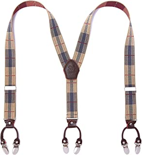 Heavy Duty Men Braces KANGDAI 6 Buckles Y Back 10 Colors Durable Elastic Adjustable Suspenders Strong Metal Clips