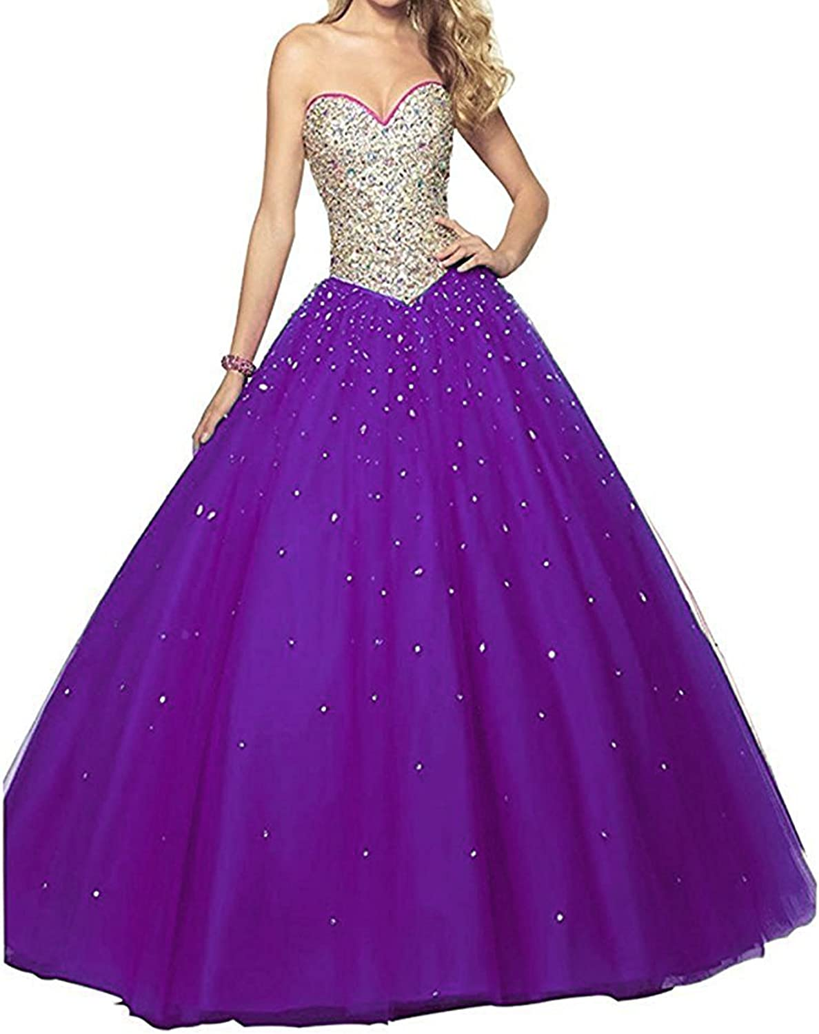 Mypurplec Women's Sweetheart Beading Quinceanera Dresses Long 2017 Prom Party Ball Gown MY124