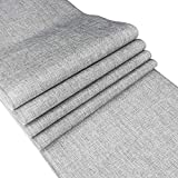 BLUETOP Gray Table Runners 72 Inch Burlap Table Runner Imitated Linen Farmhouse Centerpieces for Tables Dining Room Table Runner for Birthday Party Wedding Home Kitchen Decor